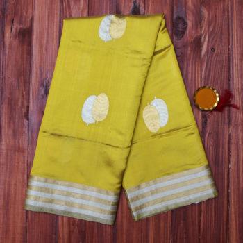 Mehendi yellow pure banarasi saree