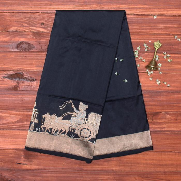 Black and gold pure katan banarasi saree