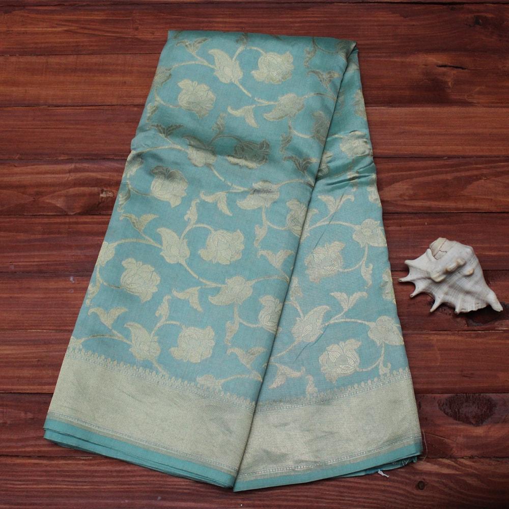 Www Banarasisareeinnepal: Soft Sky Blue Pure Katan Silk Handloom Banarasi Saree[SOLD
