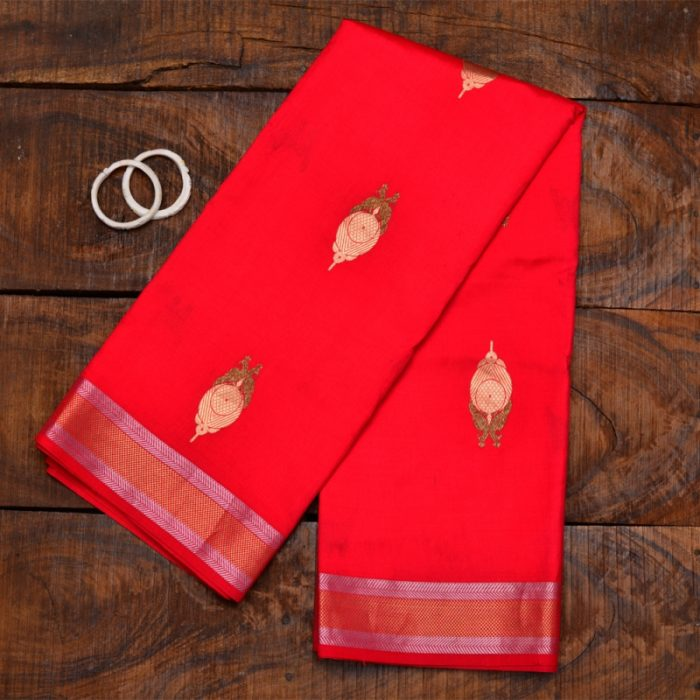 red pure banarasi silk