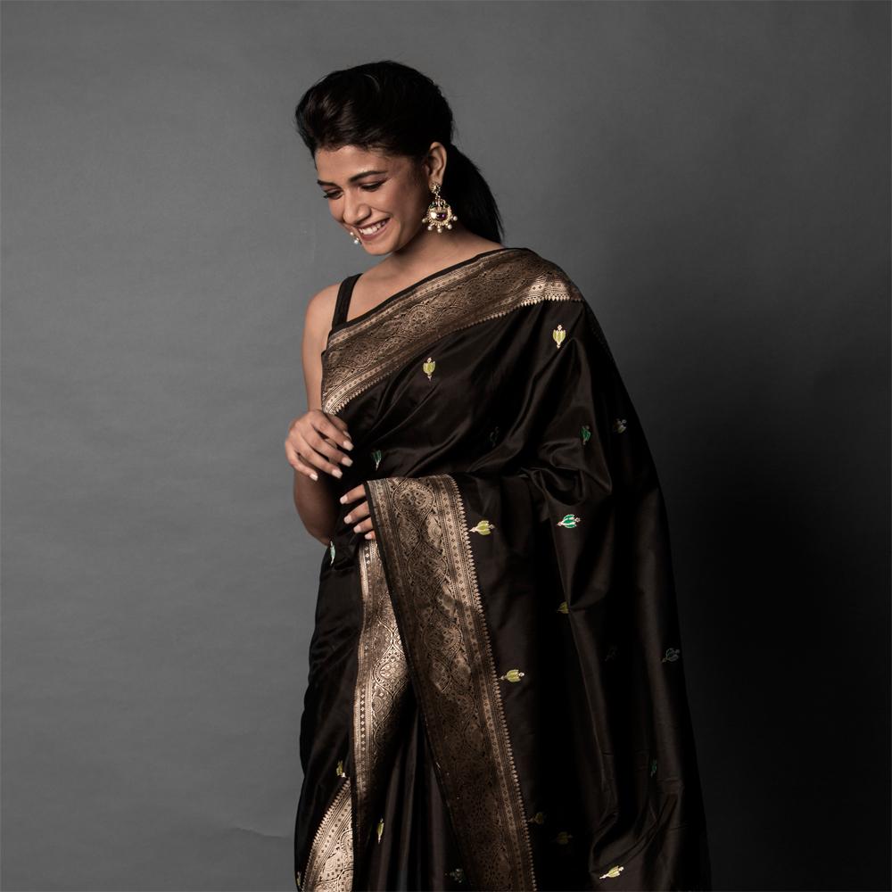 becf55ef2 Black pure katan handloom banarasi silk saree [SOLD] - Coloroso ...