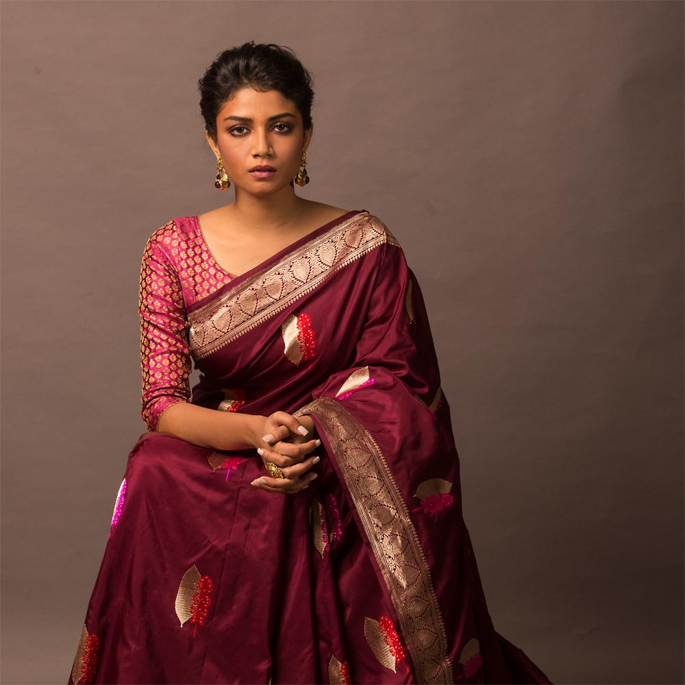 Www Banarasisareeinnepal: Rich Wine Colour Pure Katan Silk Banarasi Saree[SOLD