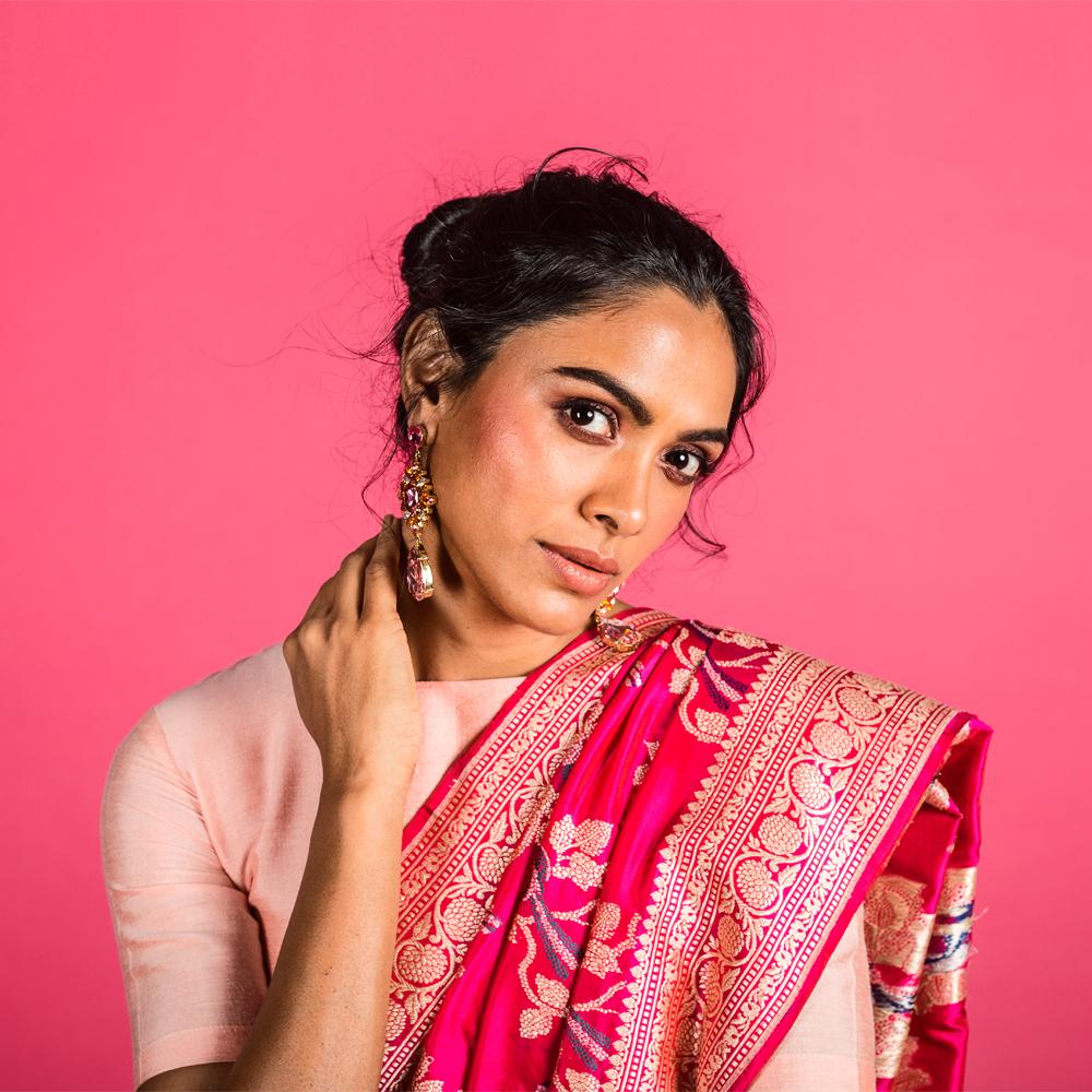 Www Banarasisareeinnepal: Rani Pink Pure Katan Handloom Banarasi Saree[SOLD