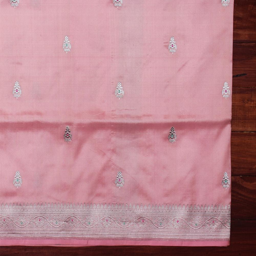 Light Pink Pure Katan Silk Handloom Banarasi Saree Sold