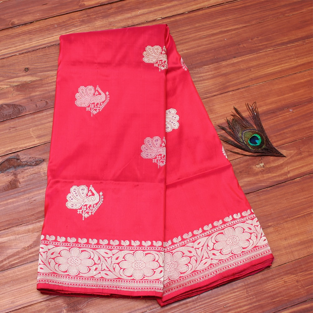 3f5932caf0 tomato red pure katan silk banarasi handloom saree - Coloroso ...