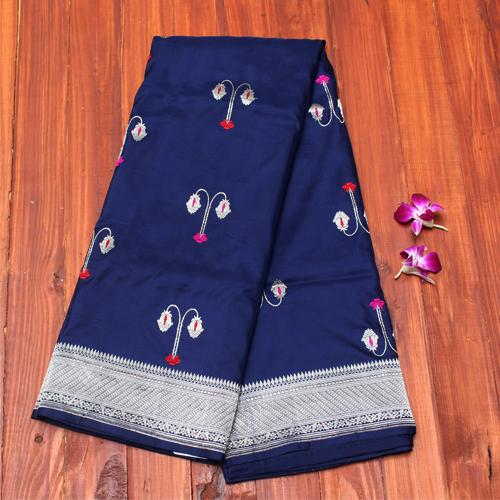 afbde0fa95 Navy blue pure katan silk banarasi handloom saree - Coloroso | Drape ...