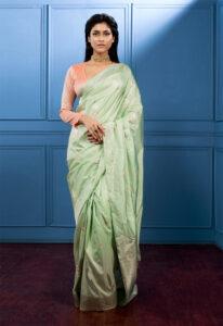 pista_green_pure_banarasi_silk_saree
